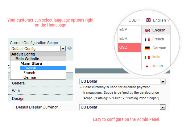 Parna- Multiple languages and currencies
