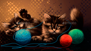 Drawing Kittens Playing