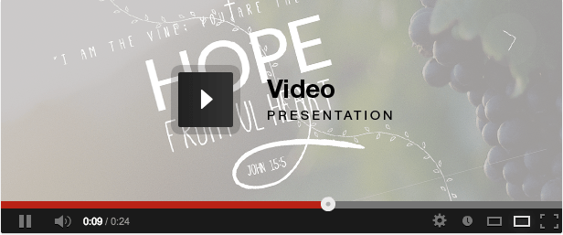 Vineyard Church - One Page Responsive Religious video presentation