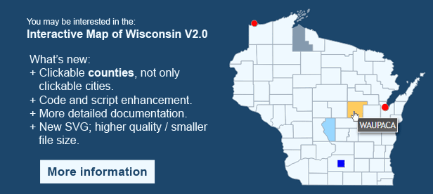 Interactive Map of Wisconsin - Clickable Counties