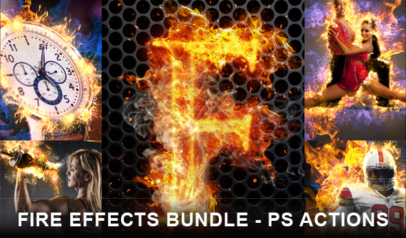 Fire effects bundle Photoshop actions
