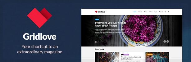 Gridlove - Creative Grid Style News and Magazine WordPress Theme