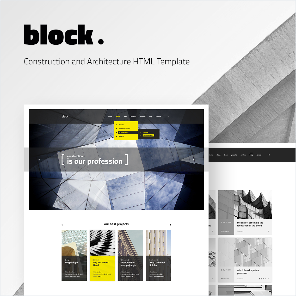 Construction and Architecture HTML Template Block