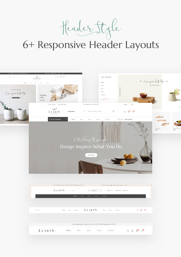 Handmade shop WooCommerce WordPress Theme - Header Layouts