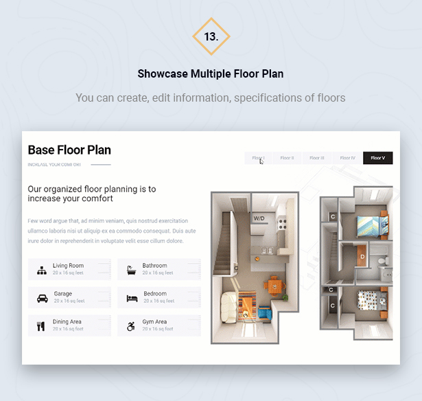 Multiple Floor Plan in HouseSang Single Property WordPress Theme