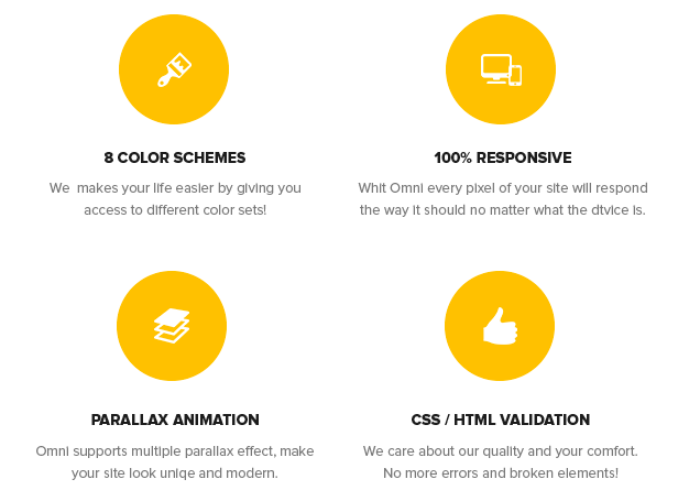 8 Color Schemes, 100% Responsive, Parallax Animation, CSS / HTML validation