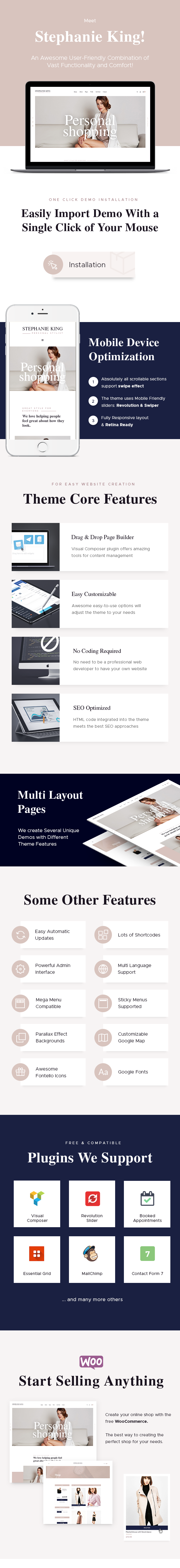 Personal Stylist and Fashion Blogger WordPress Theme features