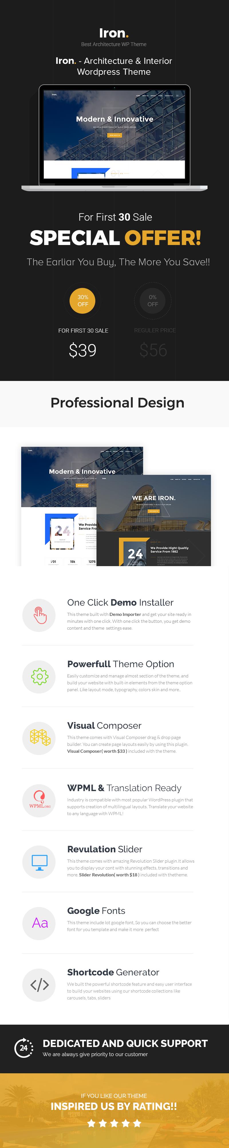 Iron - Architecture, Interior and Design WordPress Theme - 1