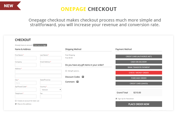 ATstore - Onepage checkout