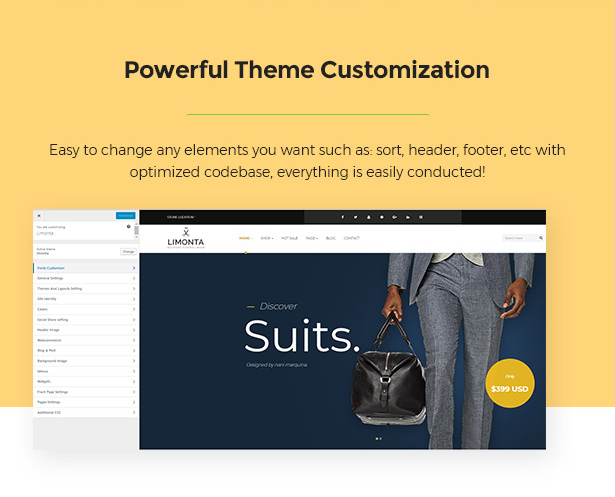 Real-time Customization Limonta - Modern Fashion WooCommerce WordPress Theme