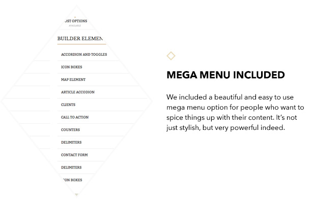 Mega menu included