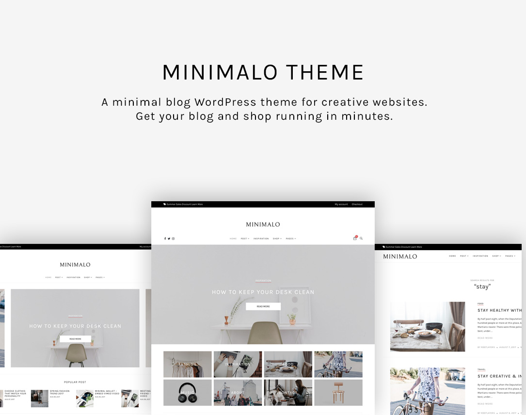 Minimalo - A Minimal Blog WordPress Theme for Creative Websites - 1