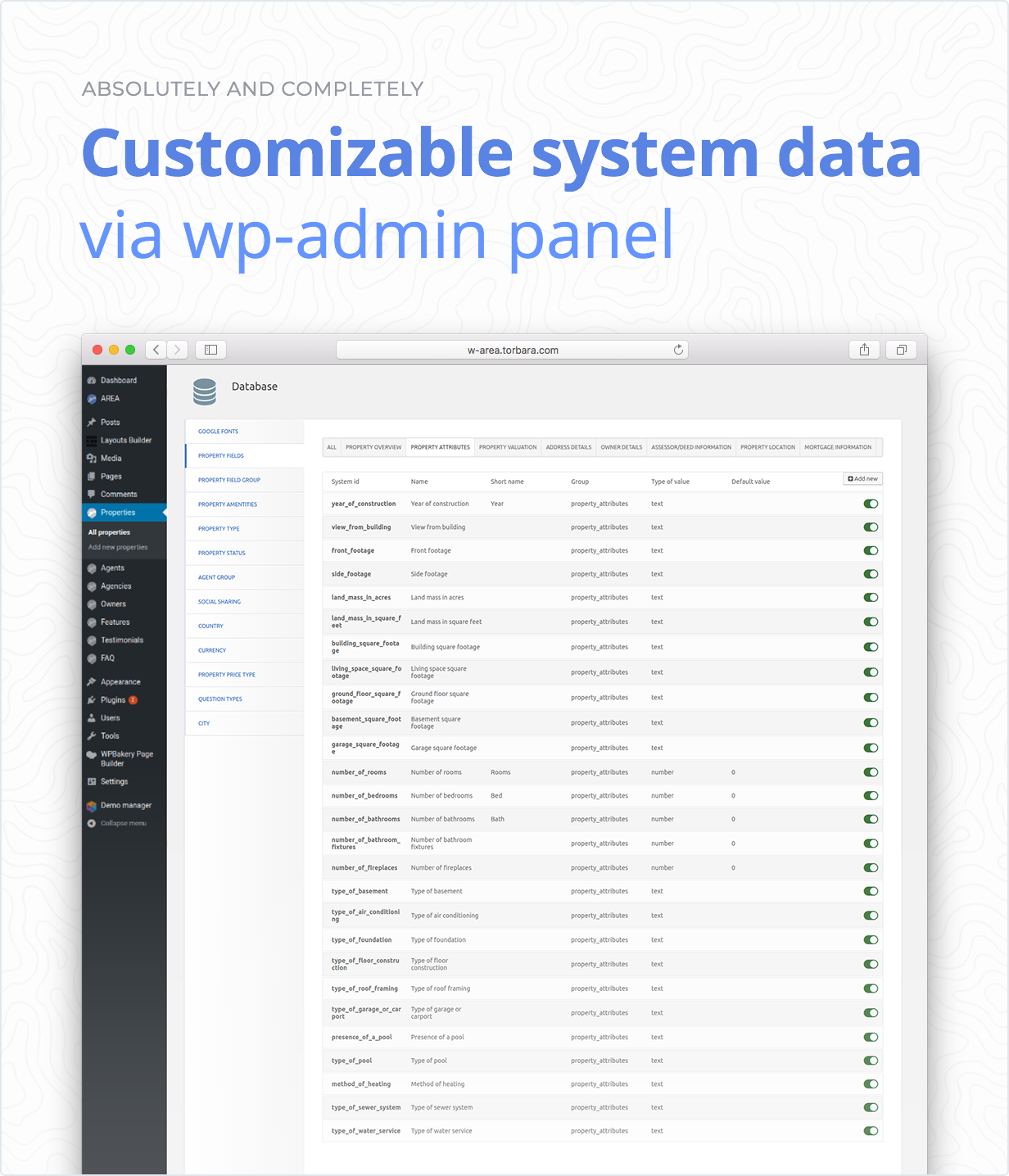 Customizable system data via admin panel