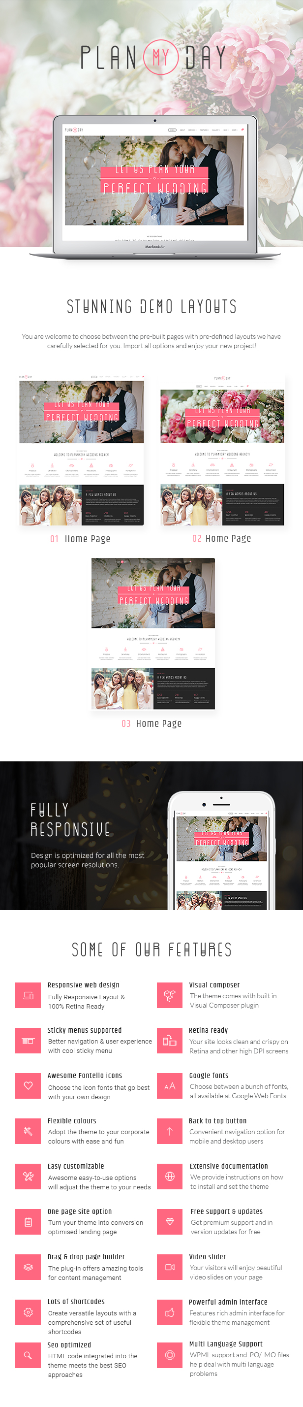 Wedding and Event Planning Agency WordPress Theme features