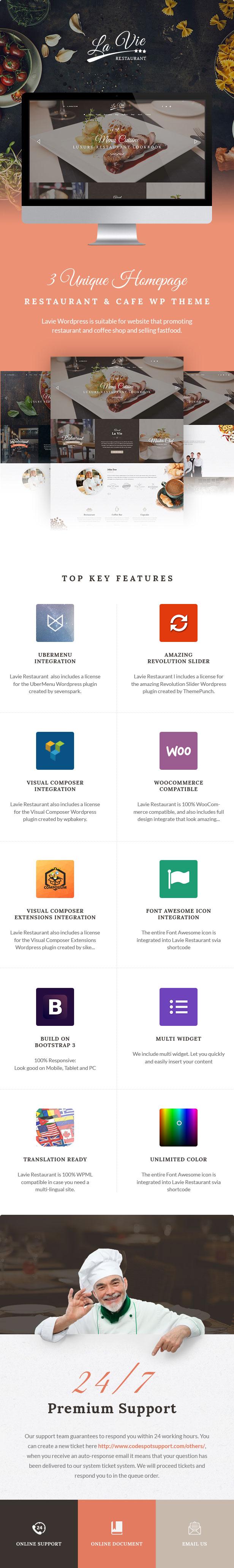 Lavie Restaurant WordPress Theme WooCommerce