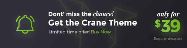 Purchase Crane WordPress Theme only for $39