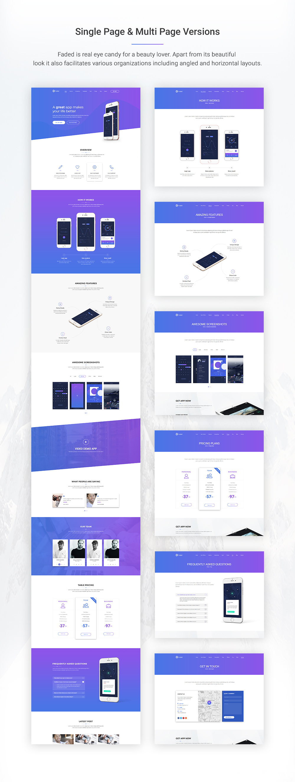 Faded - Responsive App Landing Page WordPress Theme + RTL