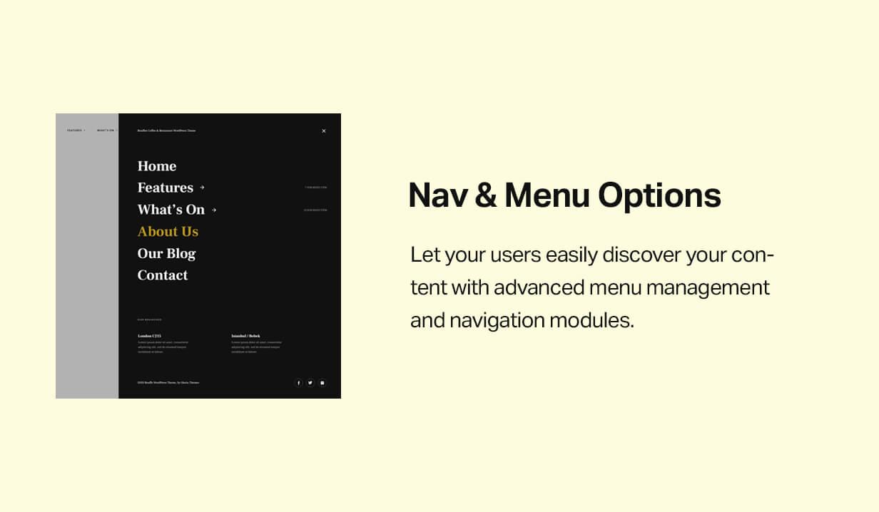 Navigation and menu options