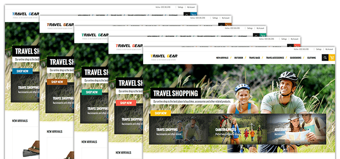 5 color options in Responsive Magento theme TravelGear