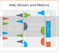 Modern Web stickers and ribbons