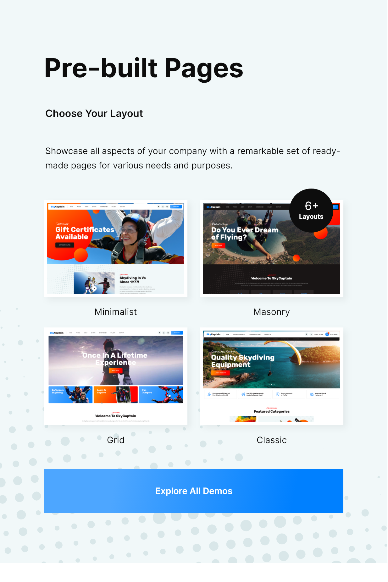 SkyCaptain | Skydiving & Extreme Flying Sports WordPress Theme