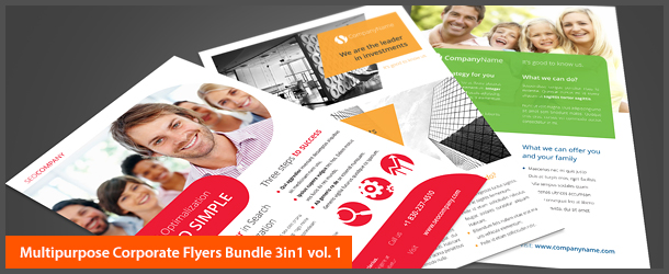Multipurpose Corporate Flyers Bundle 3in1 vol. 1