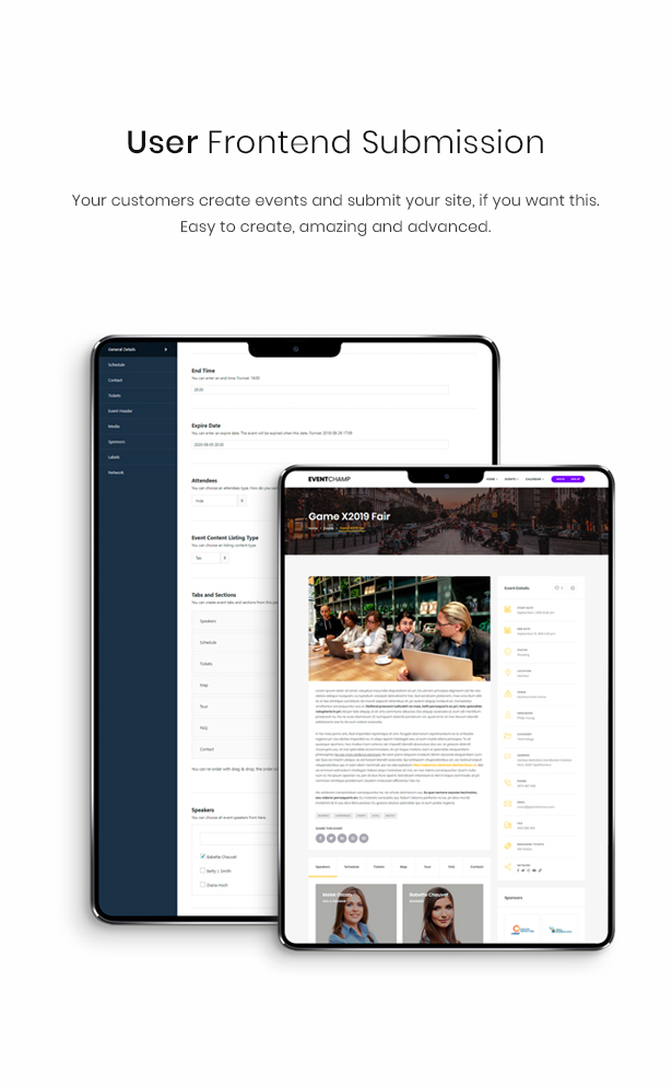 WordPress event user frontend theme