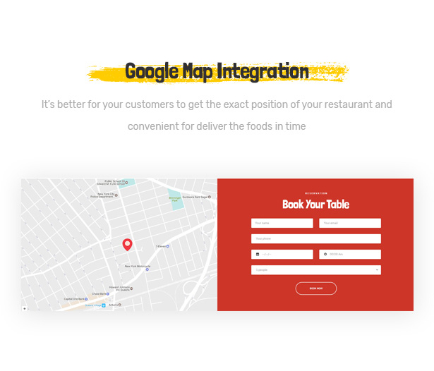 Foodo Google Map- Fast Food Restaurant WordPress Theme