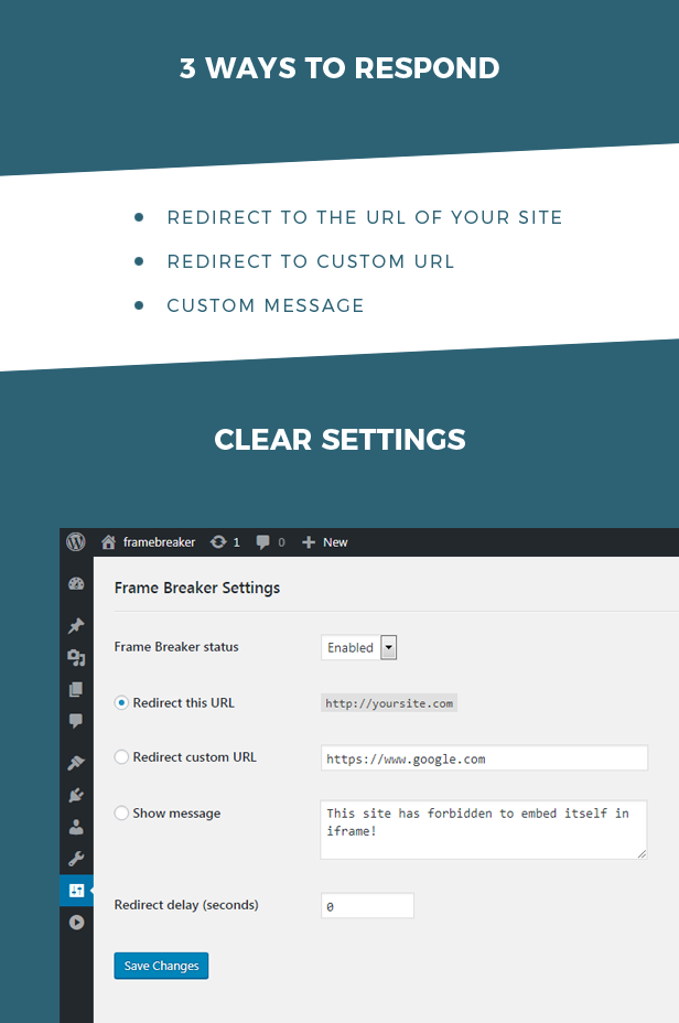 Block site from loading in iframe - Frame Breaker WordPress plugin