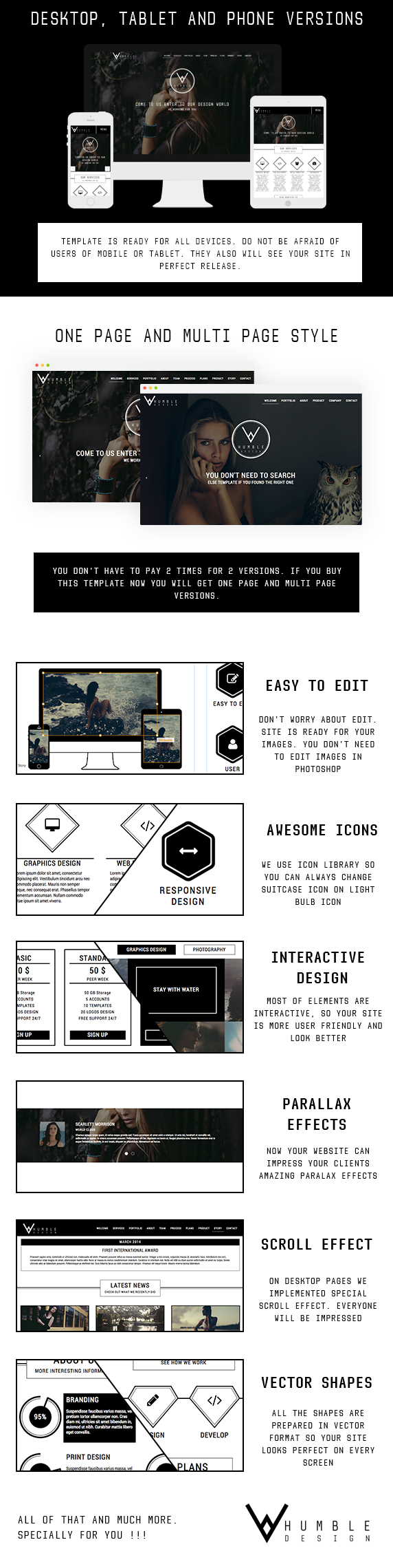 Humble - One Page & Multi Page Modern Muse Template - 3