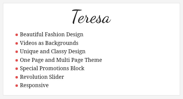 Teresa - A One And Multi Page Fashion Theme - 1
