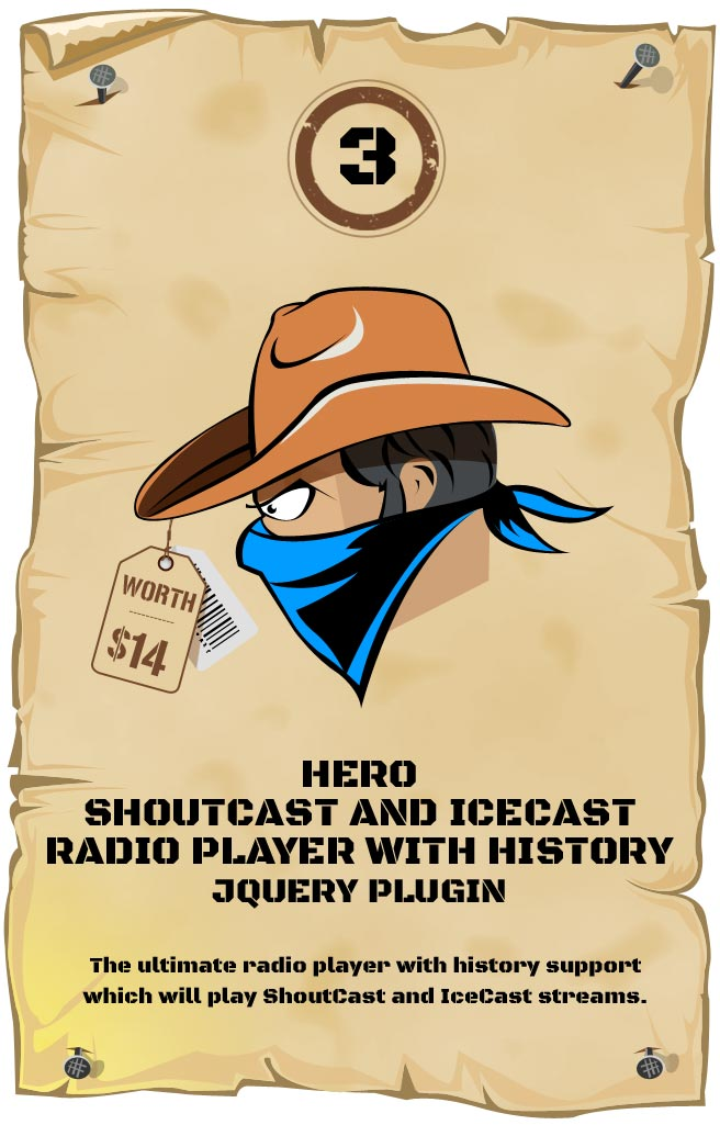Hero - Shoutcast and Icecast Radio Player With History - Responsive Plugin
