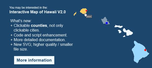 Interactive Map of Hawaii - Clickable Counties