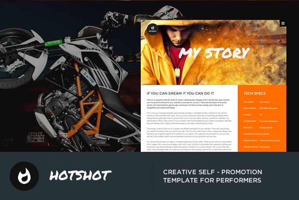 HotShot - Self Promotion HTML Template