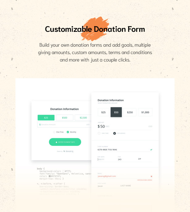 Easily Build Donation Forms in Givelove Non Profit Charity & Crowdfunding WordPress Theme