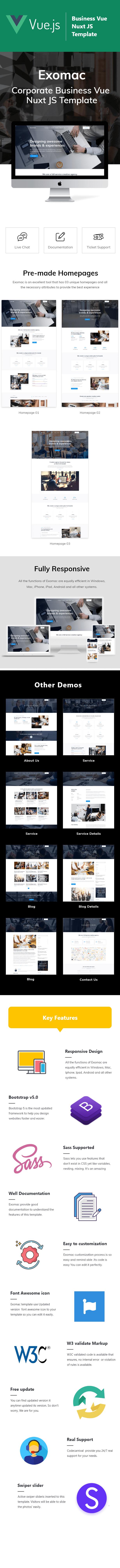 Exomac – Corporate Business Vue Nuxt JS Template - 1