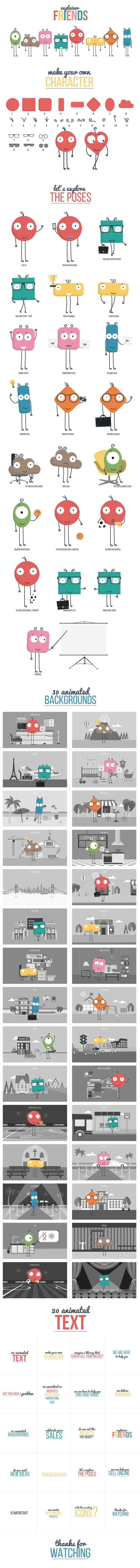 PR预设-动态卡通可爱小人解说场景图标MG动画