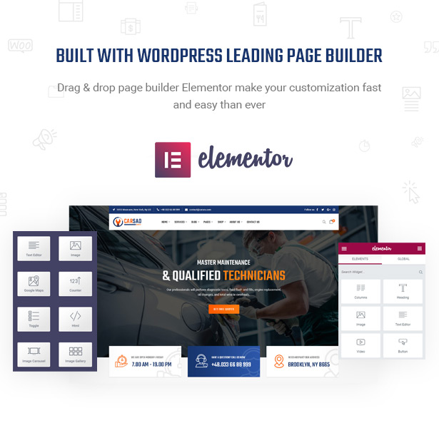 Be Powerful with Elementor - Page Builder - Carsao - Car Service & Auto Mechanic WordPress Theme