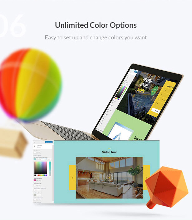 unlimited color options-Single Property Real Estate WordPress Theme