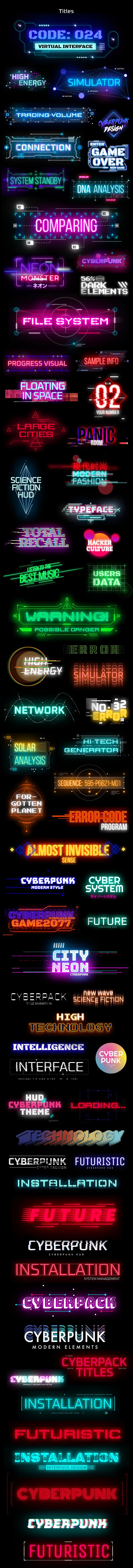 AE脚本-赛博朋克未来科幻霓虹灯发光文本标题背景动态工具包 Cyberpunk Titles Lowerthirds and Backgrounds插图2