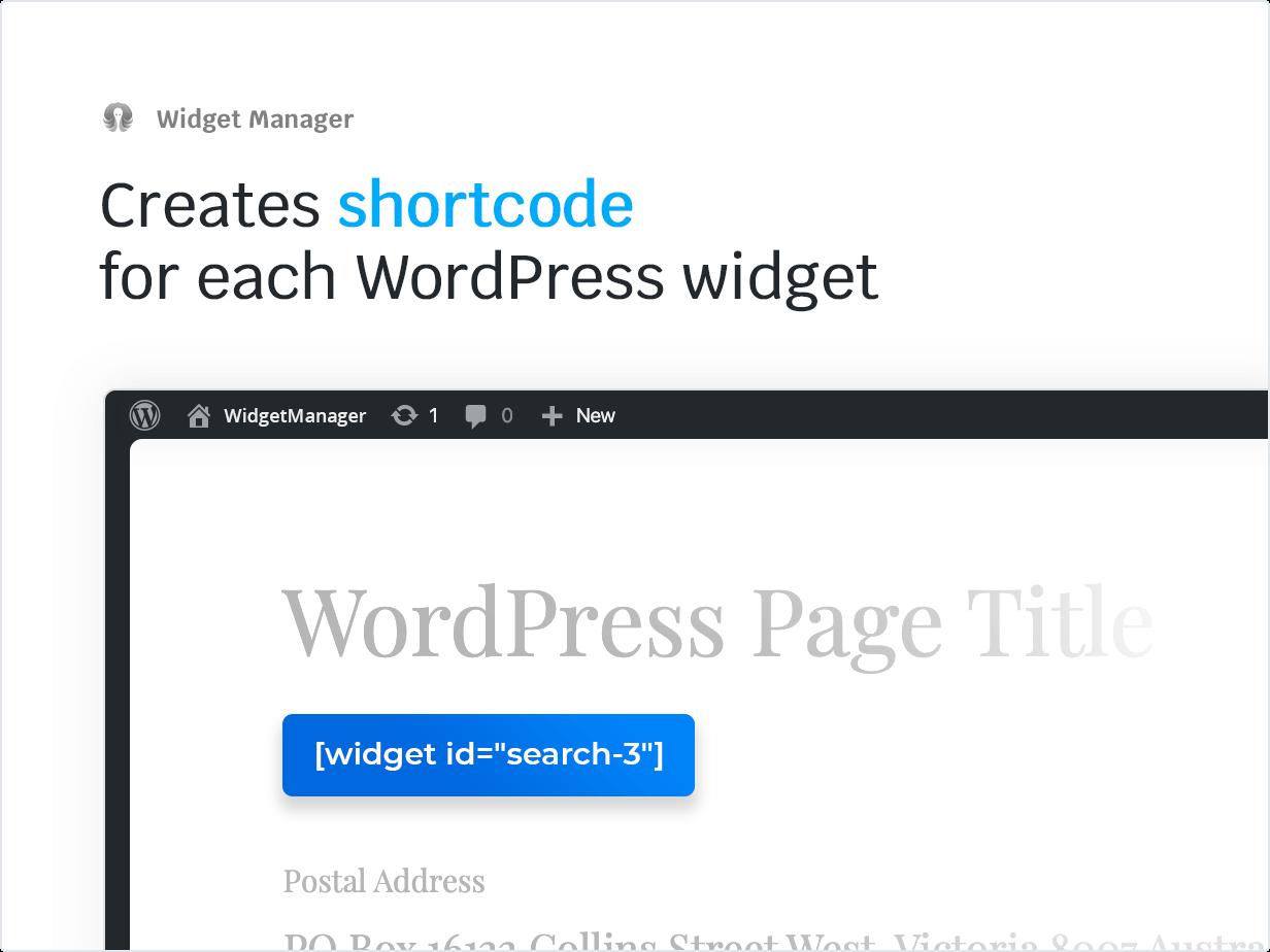 Creates Shortcode for each WordPress widget