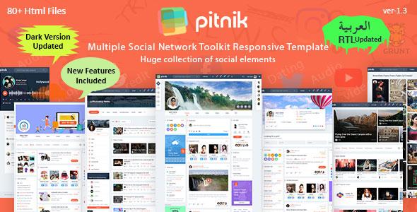 Pitnik Social media Free UI Kit