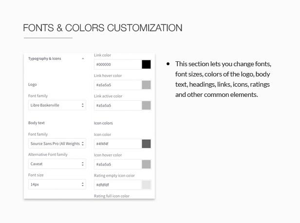 Fonts & Colors customization