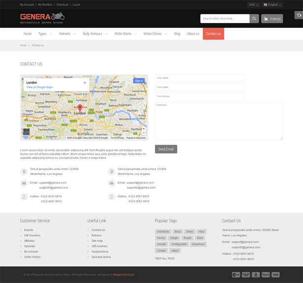 Genera Responsive Magento Sport Theme By Magentech ThemeForest - Bootstrap contact us page with map