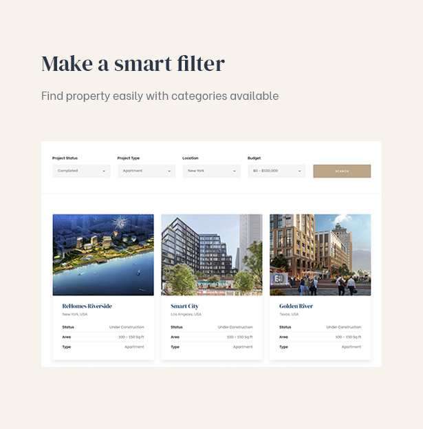 Save time to search properties with the smart filter supported in the real estate template