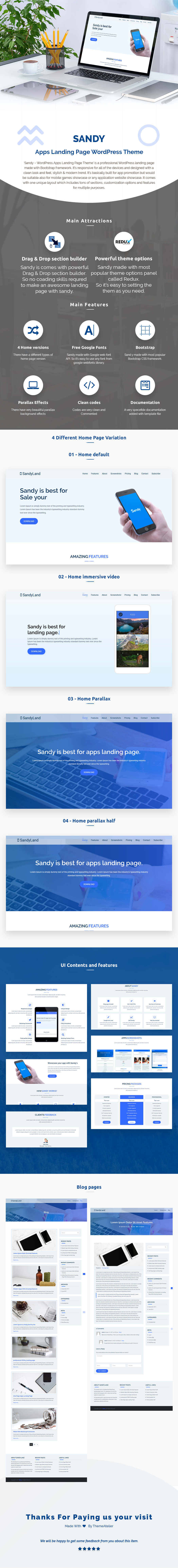Sandy - Apps Landing Page WordPress Theme - 1