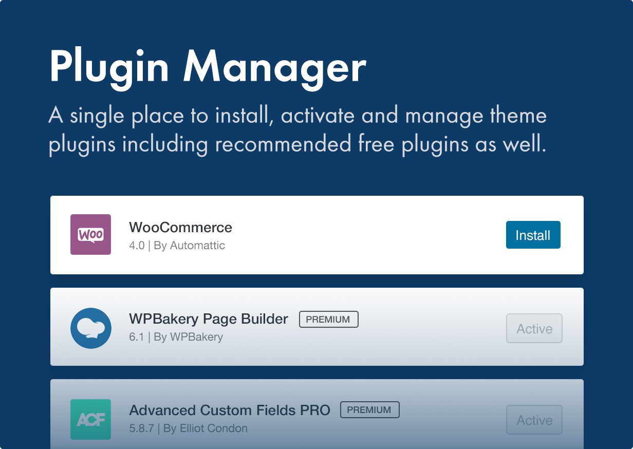 Manage the plugins from one place