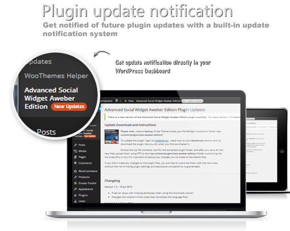 Get notified of future plugin updates with a built-in update notification system