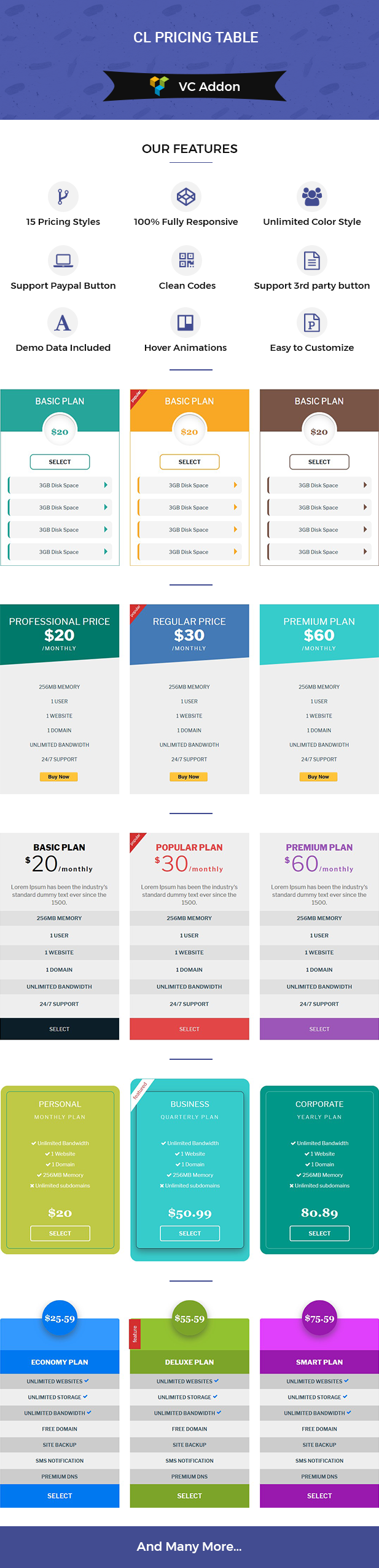 CL Pricing Table for Visual Composer