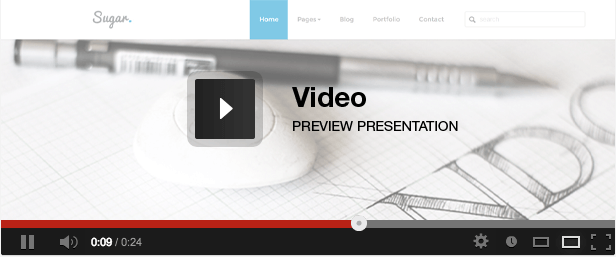 Sugar - Responsive Minimal Creative Template video presentation